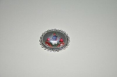 Vintage Faux Pearl and Paper Flower Dome Brooch M1