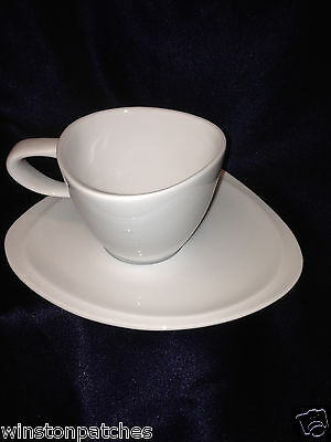Royal Porcelain Oneida Sant Andrea Triangle Cup  Saucer All White Geometric 8 Oz
