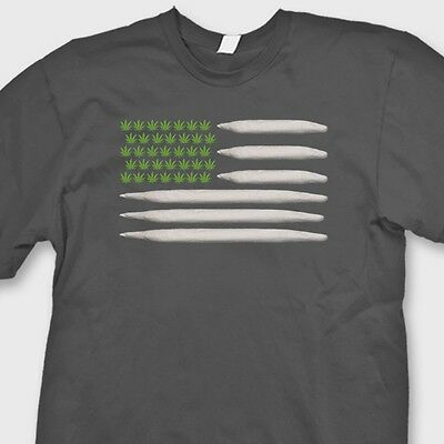POT FLAG Joints Weed Stoner 420 T-shirt Hemp Marijuana Blunt Tee Shirt