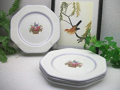 "5  Wood & Sons Enoch China WOO99 Flower Basket Design 8.5"" Salad Plates  ENGLAND"