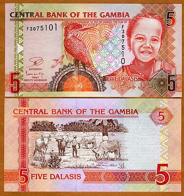 Gambia, 5 Dalasis, ND (2006), 2013 Issue, P-25-New, UNC