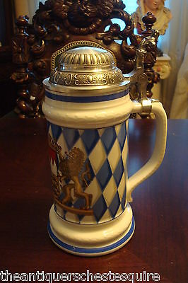 """Rosler Tettau Bavaria Stein 9"""" tall,  white and blue and multicolor figures"""