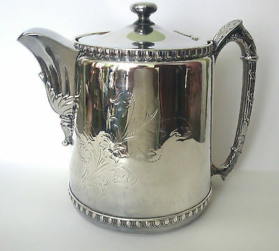 ANTIQUE REED & BARTON 1862 SILVERPATE FLORAL ENGRAVED TANKARD WATER LID PITCHER