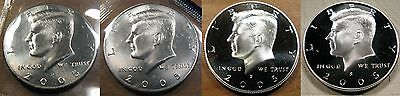 2005 P D S S Kennedy Half Dollar Coin Set 2 BU Coins 1 Clad 1 Silver Proof Coin