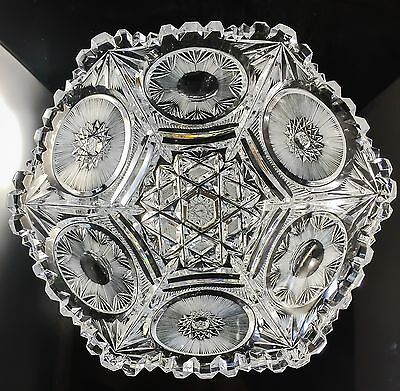 RARE Hexagon Sided American Brilliant Period Cut Glass Bowl Crystal ABP Exc.cond