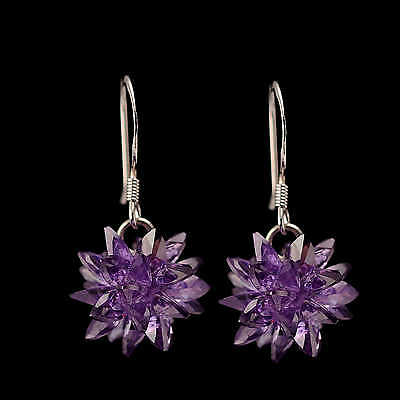 Attractive Ice Flower Shape Dangle Earrings 925 Sterling Silver Jewelry For Gift
