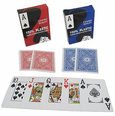 100% PLASTIC POKER PLAYING CARDS JUMBO INDEX - Blue or Red - FREE POSTAGE