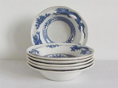 "Vintage ""Booths Dragon"" (Blue) 6 x Small Bowls 15.20cm Diameter"