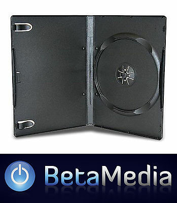 100 x Single Black 14mm Quality CD DVD Cover Cases - Standard Size DVD case