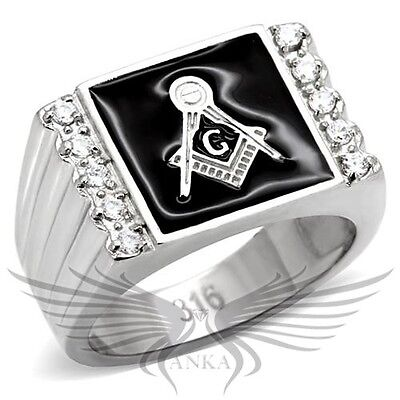 Men/'s Masonic Freemason Ring Stainless Steel Balck IP No Stone 8-13 TK2371