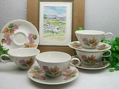 4  Vintage MCM Iroquois Impromptu China Ben Seibel GRAPES Coffee Cup Saucer Sets