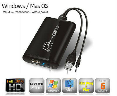USB 3.0/2.0 to HDMI DVI Multi Display Adapter with Audio 1080p for Windows Mac