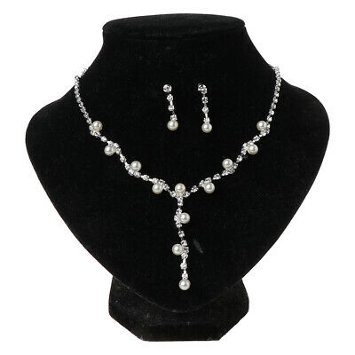 Fashion Prom Wedding Bridal Crystal Rhinestone Necklace Earring Jewelry Set