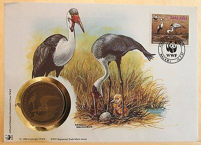 First Day Medal Cover - WWF 30 Years Anniversary 1987 Malawi Wattled Crane Cover