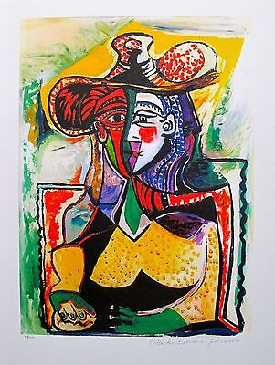 """Pablo Picasso PORTRAIT OF A WOMAN Estate Signed & Numbered Giclee Art 26"""" x 20""""."""