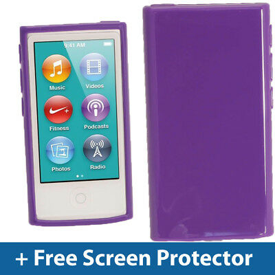 Purple Glossy TPU Gel Case for New Apple iPod Nano 7th Generation 7G Cover Shell