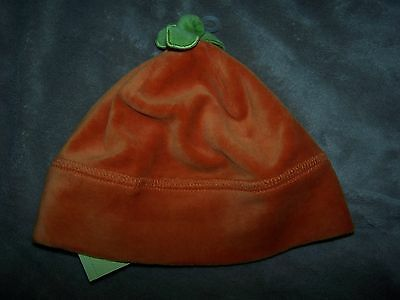 NWT GYMBOREE Orange Pumpkin with Stem Beanie Velour HAT 6-12 mo Free US Shipping