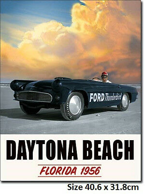 Ford Thunderbird 1956 Daytona Beach  Metal Tin Sign 1845 - Post Discounts