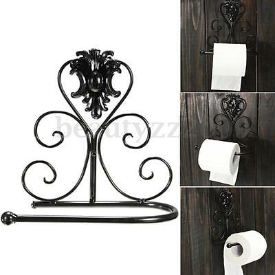 Classical Iron Toilet Paper Roll Holder Bathroom Wall Mount Rack Black