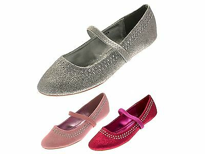 Girls Glitter Studded Party Shoes Mary Janes Flat Ballet Pumps Kids Ballerinas