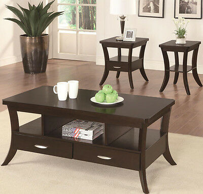 NEW 2PC FIDLEY ESPRESSO FINISH WOOD COFFEE END TABLE SET w/ DRAWERS