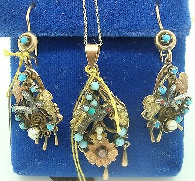 10K Gold Silver Bird Victorian Pendant And Earring Set (#1744)