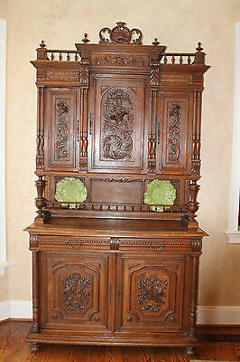 Antique French Henry II Carved Oak Buffet Server Hutch