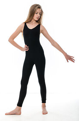 Girls Children Black Cotton Sleeveless Footless Catsuit Unitard KDC056 By Katz