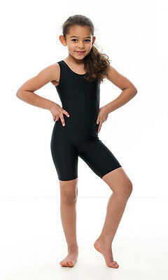 Girls Childrens Black Lycra Sleeveless Dance Catsuit Unitard KDC018 By Katz