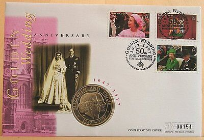 First Day Cover - Golden Wedding Anniversary HM The Queen 1997 Turks & Caicos