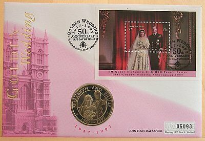 First Day Coin Cover- Golden Wedding Anniversary HM The Queen 1997 Grand Turks