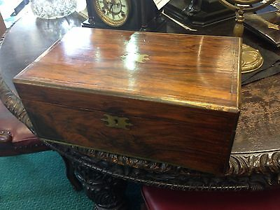 Antique Brass Bound Victorian Walnut  Writing  Box Slope