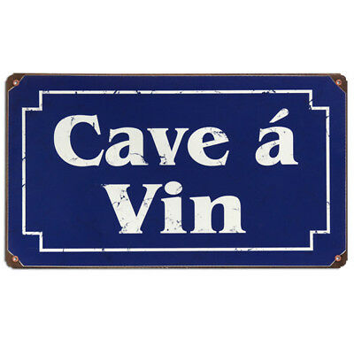 Wine Cellar Cave a Vin Metal Sign French Translation Vintage Bar Decor 14 x 8