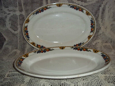 Pair Vtg. Iroquois China Serving Platters, Harvest Theme Pattern
