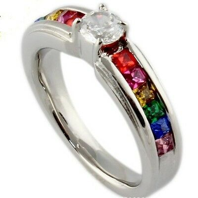 Size 5-9 Stainless Steel Solitaire Ring Rainbow Gay Lesbian Wedding Candy Colors