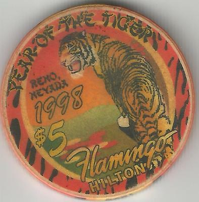 FLAMINGO HILTON RENO YEAR OF THE TIGER 1998  $5 CASINO CHIP