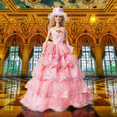 Handmade Party Clothes Fashion Dress Wedding Princess Gown For Barbie Doll