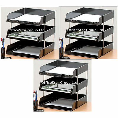 9 Black A4 Letter Filing Desk Trays + Risers - Stacking Paper- Office Stationery
