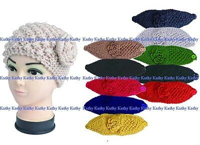 Wholesale lot 12 PCS Solid Color HEADWEAR Flower Crochet Knit Headwrap Headband
