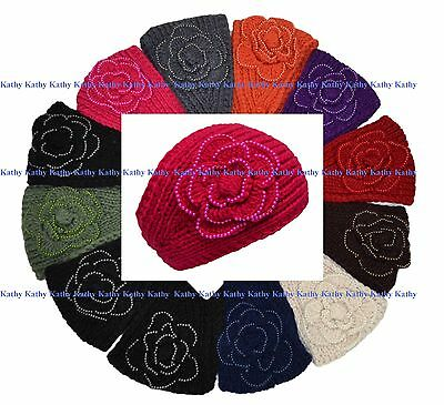Wholesale lot 12 PCS Solid HEADWEAR Flower Crochet Knit Headwrap Headband Colors