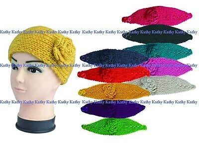 Wholesale lot 12 PCS HEADWEAR Solid Color Flower Crochet Knit Headwrap Headband