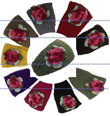 Wholesale lot 12 PCS HEADWEAR Colorful Flower Crochet Knit Headwrap Headband New