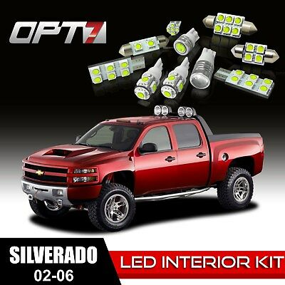 OPT7 18pc Interior LED Light Bulbs Package Kit for 02-06 Chevy Silverado ¦ White