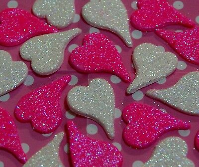 EDIBLE GLITTER LOVE HEARTS x 15 - 3CM - PINK & WHITE GLITTER - BEAUTIFUL....