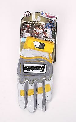 Franklin MLB Tectonic Pro Batting Gloves 1 Pair Pearl/Gray/Yellow Adult Small