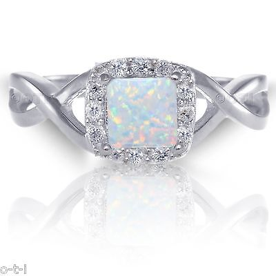Princess Cut Promise Infinity Celtic White Fire Opal Sterling Silver Ring