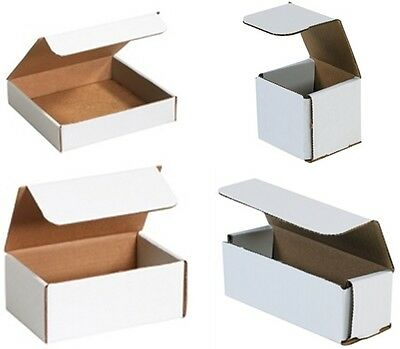 Bauxko Corrugated Mailers, (Small) White Shipping Boxes, 12-25-50 Pack
