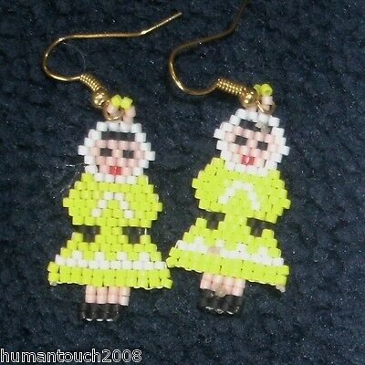 Eskimo Native Tribe Inupiat Handcrafted Beaded Earrings By Johnalee Rock
