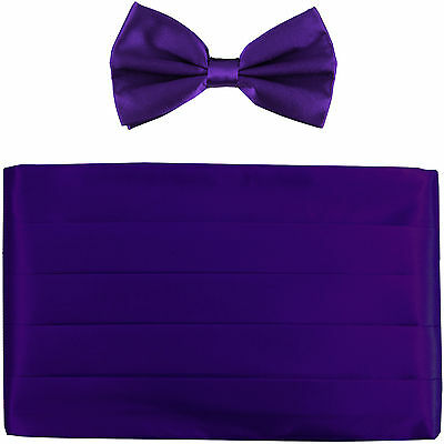 NEW in box men's formal 100% SILK Cummerbund, bowtie set solid PURPLE wedding