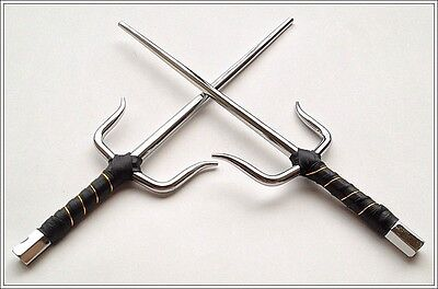 """19.5"""" Overall Martial Art Silver Metal Practice Sai Octagon Leather Wrap Handle"""